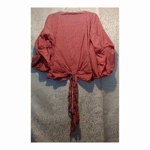 Aomei Ruffle Sleeve Red Gingham Wrap Blouse